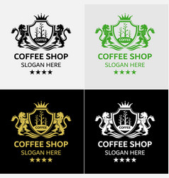 royal coffee logo template vector image
