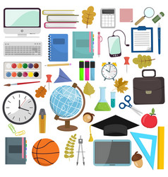 school and education workplace items flat vector image