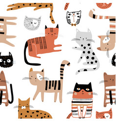 seamless childish pattern with hand drawn cats in vector image