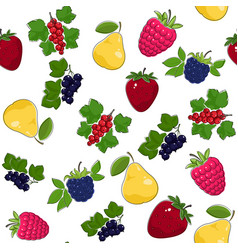 Seamless pattern of juicy fruits and berries vector