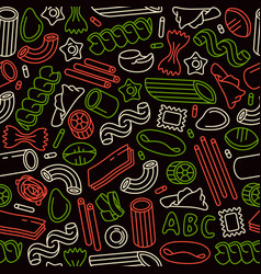 Seamless pattern with varieties pasta vector