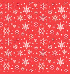 seamless pattern with white snowflakes on red vector image