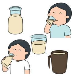 set of man drinking milk vector image
