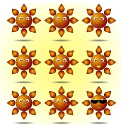 Set of Smiling Suns vector image