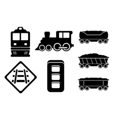 set rail road black silhouette vector image