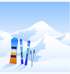 ski resort extreme activity banner skiing and vector image