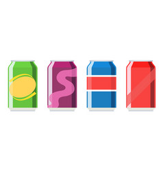 Soda aluminium can set icon vector