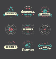 summer holidays labels and badges retro typography vector image