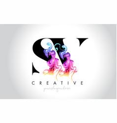 Sv vibrant creative leter logo design vector