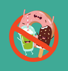 sweet fast food is prohibited vector image