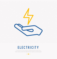 symbol of electricity in hand vector image