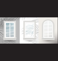 three closed realistic glass windows with shadows vector image