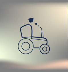 tractor sketch icon isolated hand drawn vector image