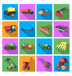 trailer dumper tractor loader and other vector image