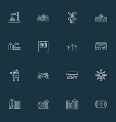 Urban icons line style set with school hotel for vector