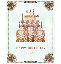 Vintage background with birthday cake EPS10 vector
