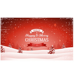 Vintage red christmas landscape background vector