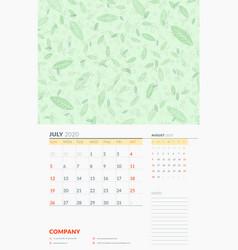 Wall calendar template for july 2020 week starts vector