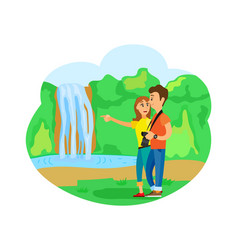 Waterfall and pristine nature traveling people vector