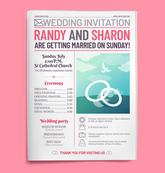 wedding invitation tabloid newspaper front page vector image