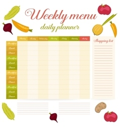 Weekly menu cute vintage daily planner vector