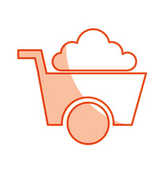 Wheel barrow tool isolated icon vector