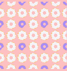 White and violet donuts with red background vector