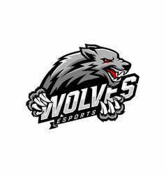 wolf e-sports logo design vector image