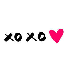 Xoxo with pink heart isolated on white background vector