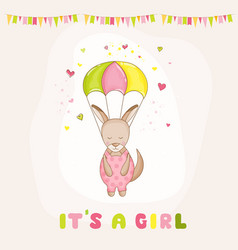 baby girl kangaroo flying with a parachute vector image vector image