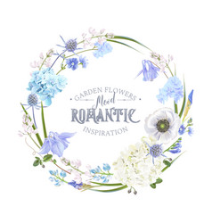 blue flower wreath vector image