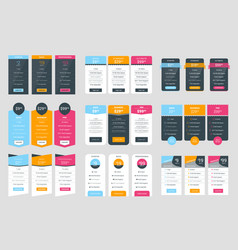 collection of coloful pricing table design vector image vector image