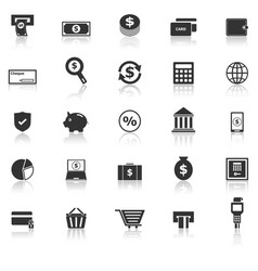 payment icons with reflect on white background vector image vector image