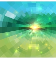Abstract green technology concentric mosaic vector image vector image