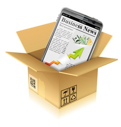 Cardboard Box with Smart Phone vector image
