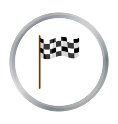 Checkered flag icon cartoon Single sport icon vector image