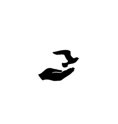 dove bird in hand peace sign pigeon fly icon vector image