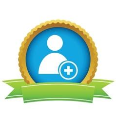 Gold add user logo vector image