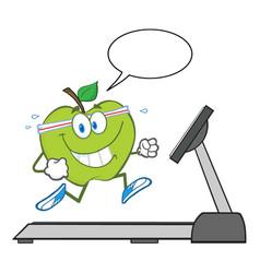healthy green apple cartoon character running vector image
