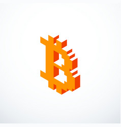 isometric pixel bitcoin icon vector image