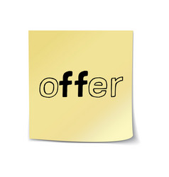 Offer - hand lettering sticky note vector