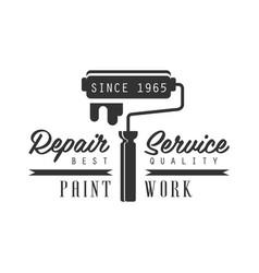 Paint work repair and renovation service black vector