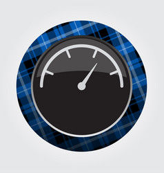 button with blue black tartan - dial symbol icon vector image vector image