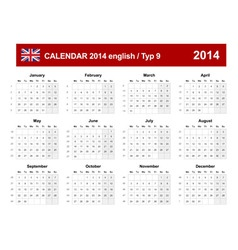 Calendar 2014 English Type 9 vector image vector image