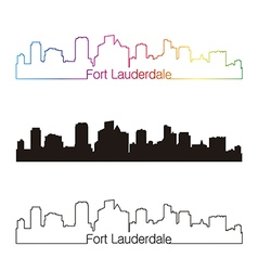 Fort Lauderdale skyline linear style with rainbow vector image vector image