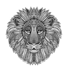 Hand drawn graphic ornate head of lion vector image