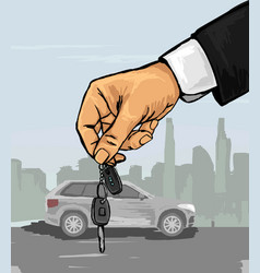 hand with the car keys vector image vector image