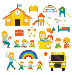 Kindergarten Preschool Teacher and Kids Set A vector image vector image