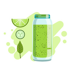 lime and cucumber smoothie non-alcoholic fresh vector image