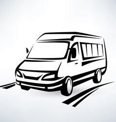 mini van outlined sketch isolated symbol vector image vector image